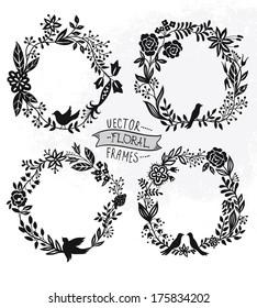 vector set of vintage floral wreathes