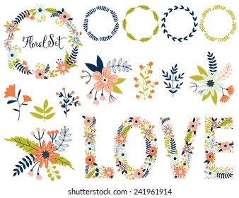 Vector set with vintage flowers. Vector illustration. Vintage love collection. Compositions, wreath, lettering, typography, frame.