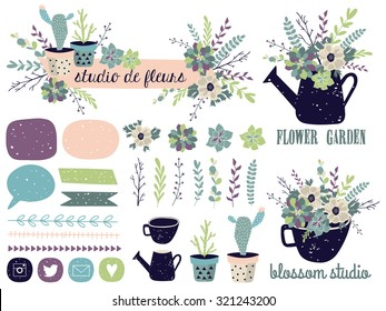 Vector set with vintage flowers. Vector illustration. Succulents, cactus, compositions, shapes, logos, borders.