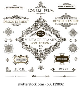 Vector set of vintage frames and design elements: page decoration, Premium Quality  antique and baroque  Borders, text delimiters, cadres with place for text.