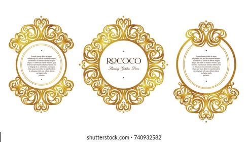 Vector set with vintage frames, vignettes; ornate floral decor for design template. Victorian style gold element. Rococo. Arabic golden motifs. Ornamental illustration for invitation, greeting card.