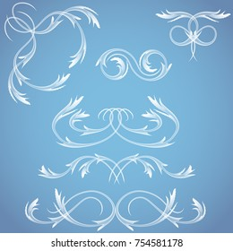 vector set of vintage frosty ornaments, corners, borders. elements of design new year postcards, calendars, tickets, banners, posters and more