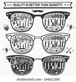 Vector set of vintage glasses.