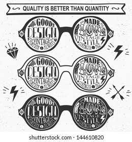 Vector set of vintage glasses. Labels and Icons.