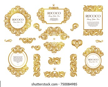 Vector set with vintage golden frames; ornate floral vignette for design template. Victorian style element. Rococo decoration. Arabic motifs. Ornamental illustration for invitation, greeting card.