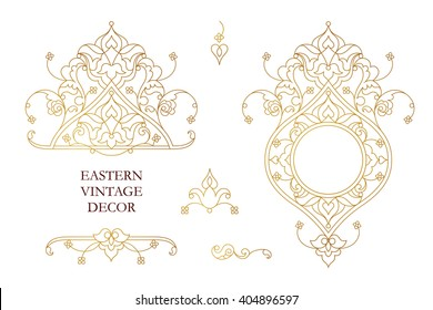 Vector set of vintage golden vignettes, frame in Eastern style. Line art element for design, place for text. Ornamental patterns for invitations, birthday, greeting cards. Traditional outline decor.