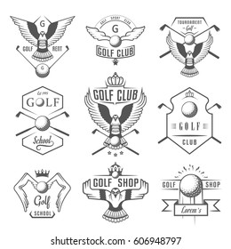Vector set of vintage golf club logos, labels and emblems. Set of golf country club logo templates. Golf labels and badges with sample text. Emblems for golf tournaments, organizations and clubs.