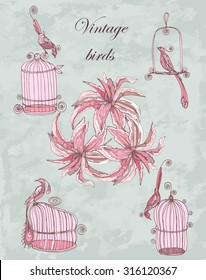 vector set vintage hand drawing birds with cages and lily  in chinoiserie style for wedding, birthday, invitation design