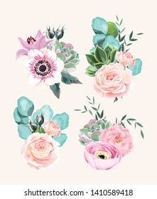 Vector set of vintage high detailed bouquets of flowers, succulents and eucalyptus