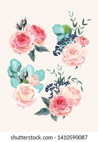 Vector set of vintage high detailed bouquets of flowers, berries and eucalyptus
