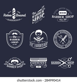 Vector set of vintage hipster barbershop logos. Hairdresser badges or emblems collection.