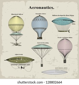 Vector set vintage hot air balloons