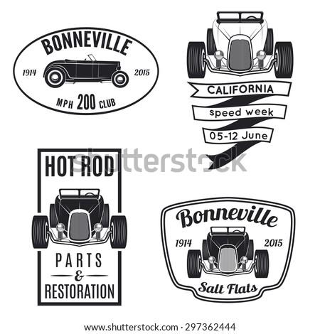 Vector Set Vintage Hot Rod Car Stock Vector Royalty Free 297362444