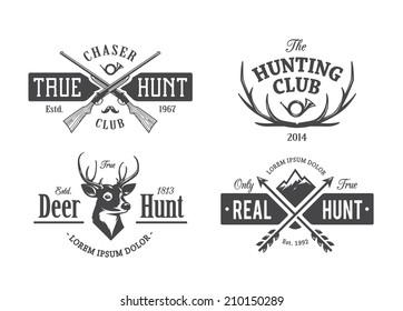 Vector set of vintage hunting emblems.
