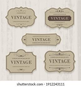 Vector set vintage label and frame element.