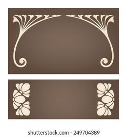 Vector set of vintage labels with art nouveau design elements.