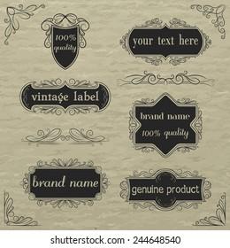 Vector set of vintage labels and elements.
