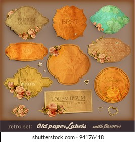 vector set: vintage labels with flowers