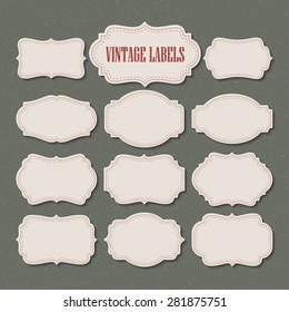 Vector set vintage labels and frame. Vector illustration EPS 10
