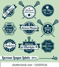 Vector Set: Vintage Lacrosse League Labels and Stickers