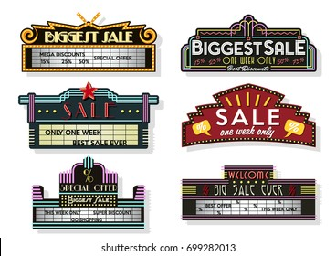 Vector Set of Vintage Light boxes and Signboards