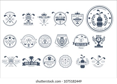 Vector set of vintage logos for golf club. Individual sports game. Monochrome emblems with balls, golf clubs, trophies, ribbons and crowns