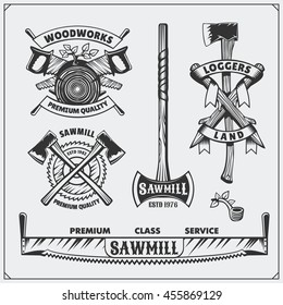 Vector set of vintage Lumberjack logos, labels and emblems. Axes and saws.