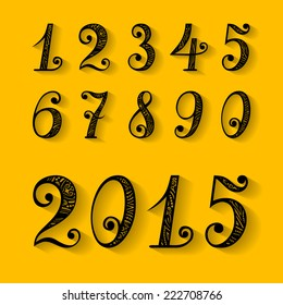Vector Set of Vintage Numbers with Long Shadow