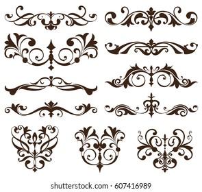 Vector set vintage ornaments, corners, borders. Vintage design elements art nouveau. Black and white monogram illustration white background