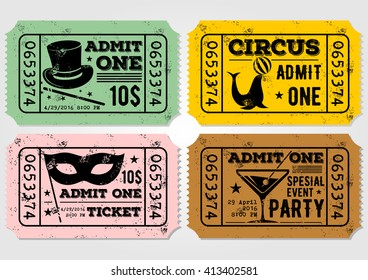 Vector set of vintage paper ticket and admit one samples icon