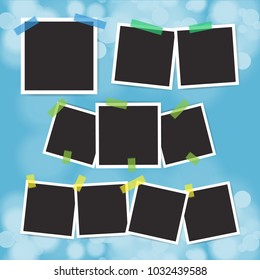 Vector set of vintage photo frame with adhesive tape on blur bokeh background.