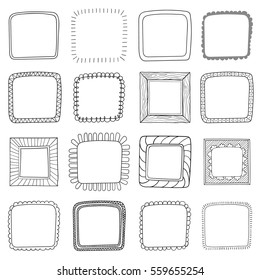 Vector set of vintage photo frames, hand drawn doodle style, antique ornamental and cute photo frames for decoration and design.