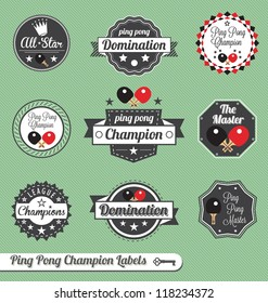 Vector Set: VIntage Ping Pong Champion Labels and Icons