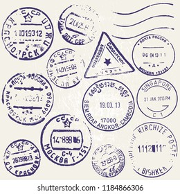 Vector set of vintage postage stamps from countries all over the world. Grunge style.