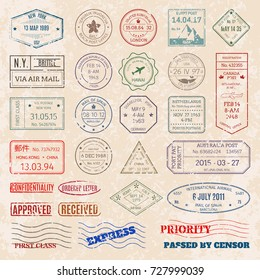 Vector set vintage postage stamps from countries all over world stamp different mail delivery postmark illustration.