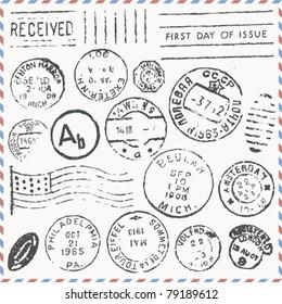 vector set: vintage postage stamps