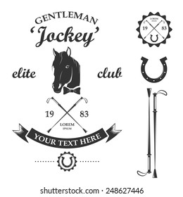 Vector set of vintage retro horse racing club and label design elements
