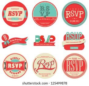 vector set vintage RSVP Label