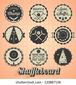 Vector Set: Vintage Shuffleboard Labels and Icons