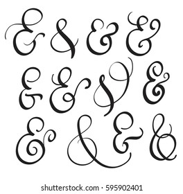 vector set Vintage sign And Ampersand on white background. Calligraphy lettering illustration EPS10