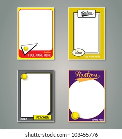 Vector Set: Vintage Softball Trading Card Frames