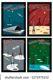Vector Set of Vintage Space Propaganda Posters Mid Century Modern Style