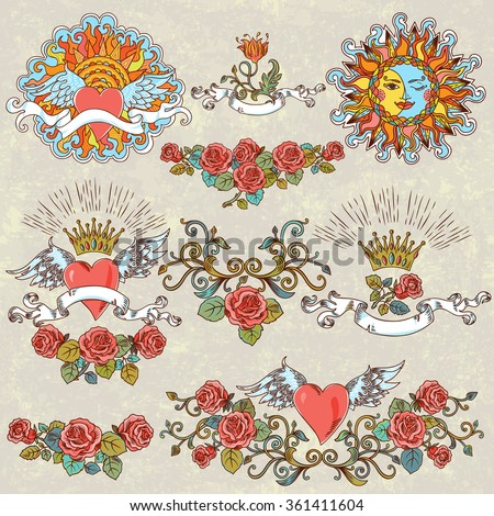 Vector Set Vintage Stylized Winged Hearts Stock Vector Royalty Free