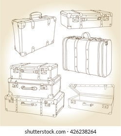 Vector set of vintage suitcases hand-drawn