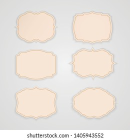 Vector set vintage tag labels and frame.