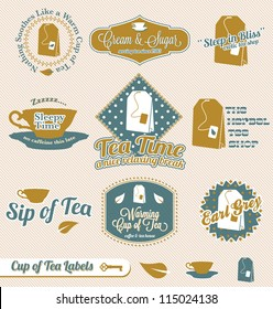 Vector Set: Vintage Tea Time Labels and Stickers