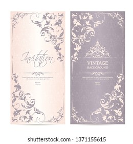 Vector set of vintage template ornamental calligraphic design elements and patterned background. Elegant lace wedding invitation design, Greeting Card, banner in classic style
