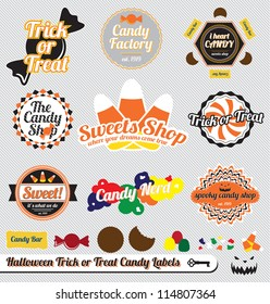 Vector Set: Vintage Trick or Treat Halloween Candy Labels and Stickers