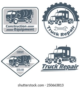 Vector set of vintage trucks and construction equipment emblems and bages
