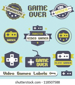 Vector Set: Vintage Video Game Labels and Icons